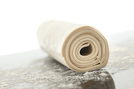 rolled raw pastry
