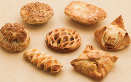 Pre filled pastry shapes